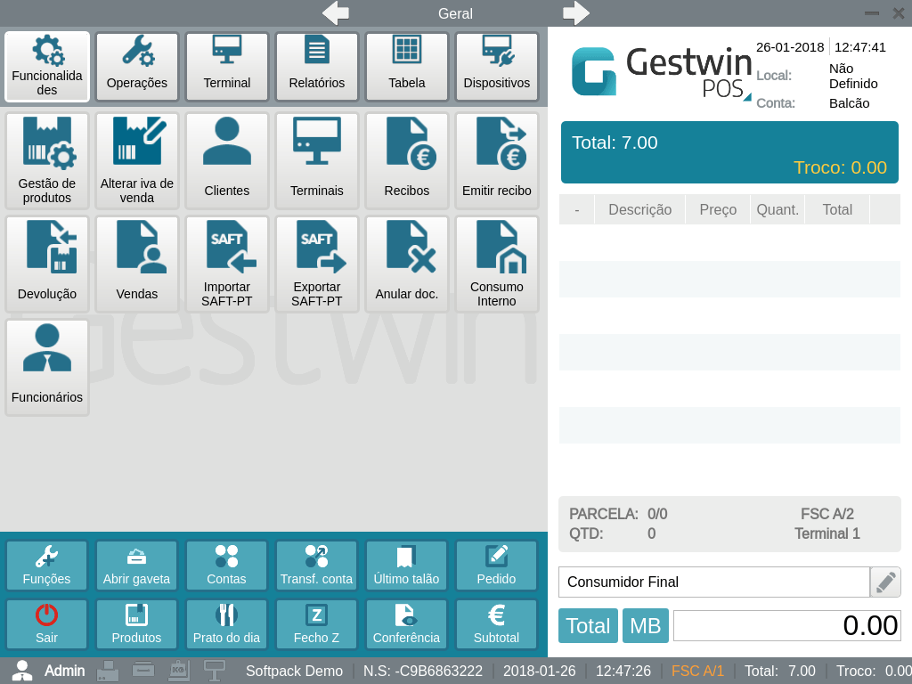 software gestwin pos - funções