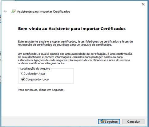 Assistente para importar certificado